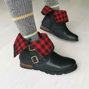 NEW in Box Sorel Leather MAJOR MOTO PLAID BOOTS 8